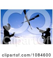 Two Silhouetted Soldiers Practicing An Over The Head Rifle Toss At Ellsworth Air Force Base Free Stock Photography