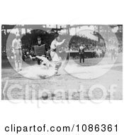 Umpire Waiting As A Runner Slides Onto Home Base Free Historical Baseball Stock Photography by JVPD