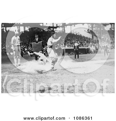 Umpire Waiting as a Runner Slides Onto Home Base - Free Historical Baseball Stock Photography by JVPD