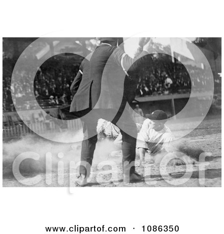 Umpire Watching as a Baseball Player Slides for Home Plate - Free Historical Baseball Stock Photography by JVPD