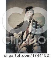 Union Soldier With American Flag Draped Over His Shoulder