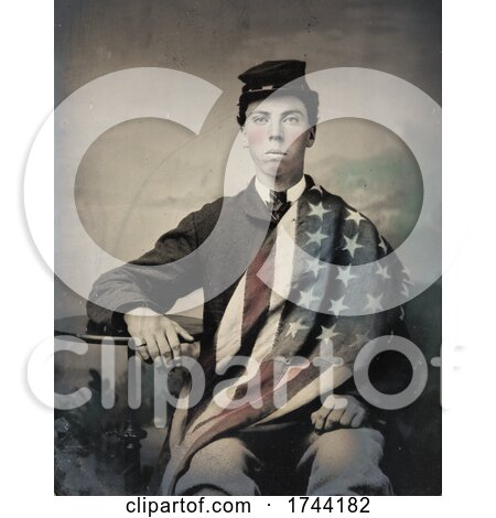 Union Soldier with American Flag Draped over His Shoulder by JVPD