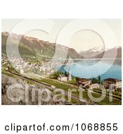 Village Of Montreux On The Shore Of Geneva Lake In Switzerland Royalty Free Historical Stock Photochrom by JVPD