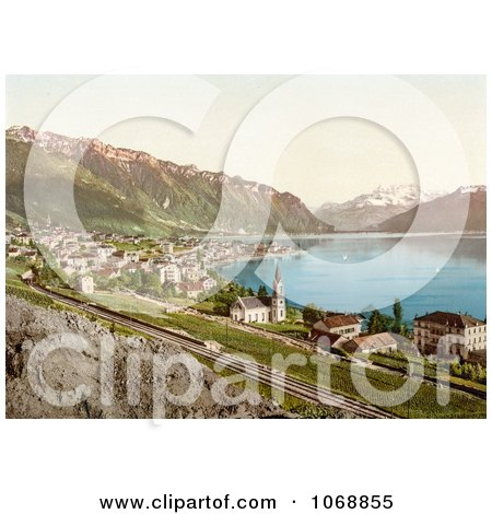 Village of Montreux on the Shore of Geneva Lake in Switzerland - Royalty Free Historical Stock Photochrom by JVPD