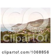 Vineyards And Village Of Vevey On Geneva Lake Switzerland Royalty Free Historical Stock Photochrom by JVPD