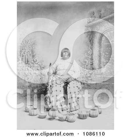 Washoe Native American Woman Sitting in a Chair, Surrounded by Baskets - Free Historical Stock Photography by JVPD