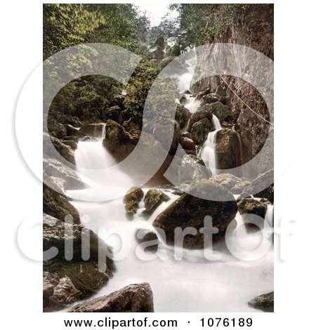 Water of the Lodore Falls Rushing Over Rocks Derwentwater Lake District Cumbria England UK - Royalty Free Stock Photography  by JVPD