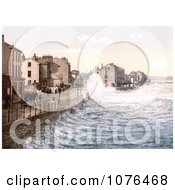 Waves Crashing On The Shore In Ramsey Isle Of Man England Royalty Free Stock Photography