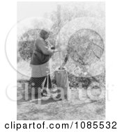 Wichita Indian Using A Mortar And Pestle Free Historical Stock Photography