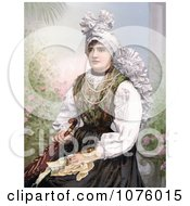 Woman Seated In Traditional Clothing Holding An Umbrella Carniola Slovenia Royalty Free Historical Clip Art