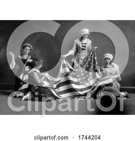 Women Making an American Flag by JVPD