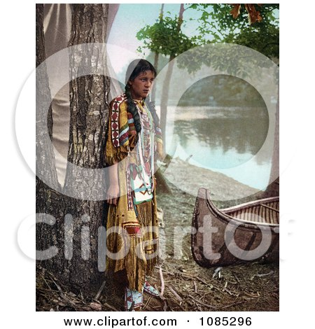 Young Native American Indian Girl Leaning Against A Tree Near A Boat On A River Bank, A Personification Of Minnehaha, 1904 - Free Photochrome Stock Photo by JVPD