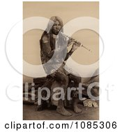 Yuma Indian Playing A Flute Free Historical Stock Photography by JVPD